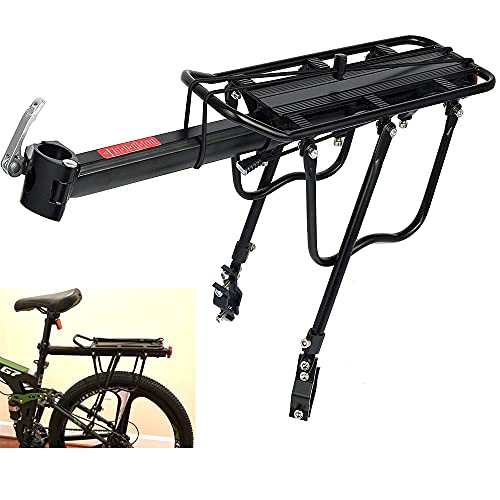 KLEYJJ Bike Rear Rack - Adjustable Quick Release Bicycle Cargo Rack for Back of Alloy Cycling Luggage Carrier Rack with 110-165 lbs Capacity Universal