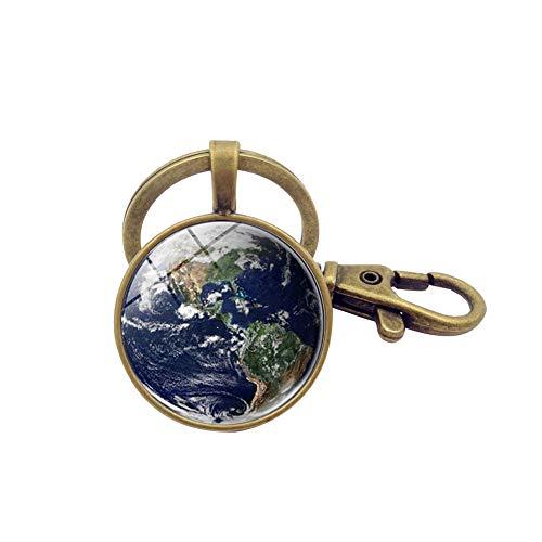 Schönes Planeten Glas Anhänger Solar System Erde Schlüsselanhänger Blaue Farbe Globus Schlüsselanhänger (Bronze)