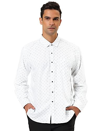 Allegra K Camisa De Lunares Para Hombres Mangas Largas Ajuste Delgado - Blanco/M (US 38, EU 48)