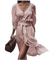 EnergyWD 女性スリムフィットリラックスしたVレースアップスプリットファッションネックボタンアップパーティードレス Pink S