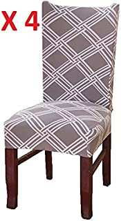 CreativesHome 4 PC Dining Room Chair Covers Set | Removable | Washable | Chair Protector | Chair Dresses | Dining Room Chair Slipcovers (Variation 9, Set of 4)