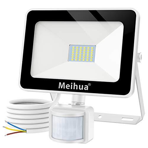 MEIHUA Foco con Sensor de Movimiento 25W, Proyector Led Exterior Super Brillante 2500lm 6500K Blanco Frío Foco LED con Detector IP66 Impermeable Foco Illumincion para Jardín, Patio, Garaje