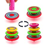 Beyork Spinning Tops Super Stacking Tops Kit Stackable Toys Spin Individually or on Top of Each Other Stacking Spinner Tops with Durable Launcher