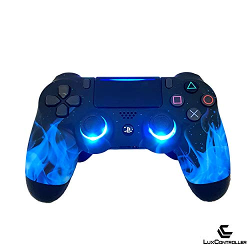 LuxController PS4 Custom LED Controller mit 2 Paddles, Blau Flammen Design, Sony PlayStation 4 V2