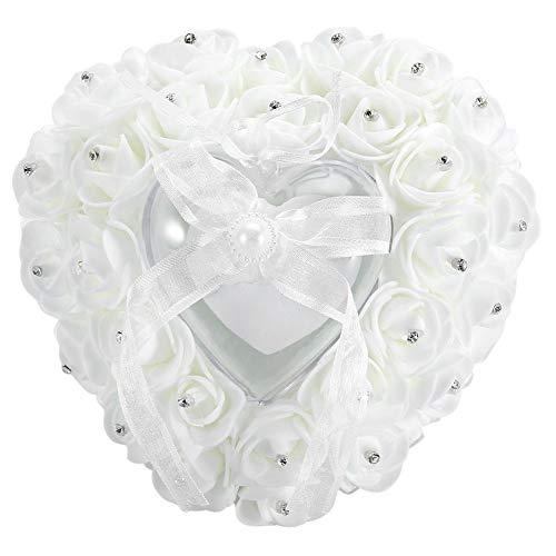 Cuscino per anelli - Cuscino per fedi nuziali a forma di cuore romantico portatile Rose strass Decor morbido cuscino per anello(bianca)
