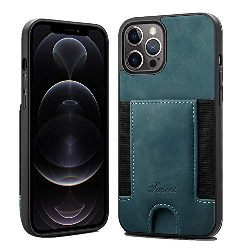 SUTENI iPhone 12 Wallet Case iPhone 12 Pro Wallet Case, iPhone 12 Pro Wallet Slim Case with Credit Card Holder, PU Leather Shockproof Wallet Case Compatible with iPhone 12/12 Pro 6.1 inch (Green)