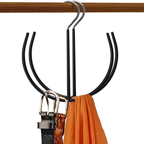 DOIOWN Belt Hangers TieScarfShoes Non Slip Organizer Hangers Hook Rack 2 Pack-Black