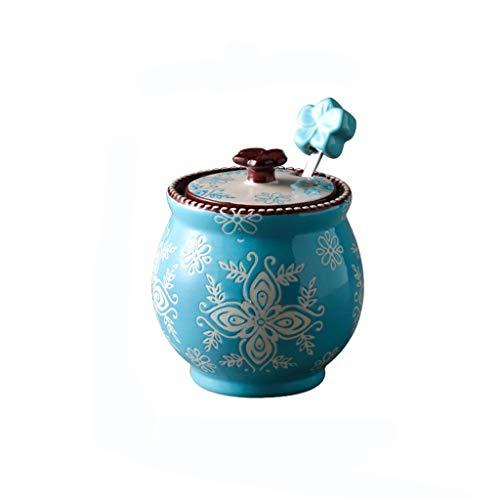 DEF Tarros de Especias de cerámica Pintados a Mano Ollas de condimentos de Estilo Nacional con Tapa Cuchara, Botella de condimento de Cocina salero azucarero (Color : Blue)