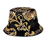 PJRYC Pescador Sombrero Gorras Sombreros algodón Verano Sombrero Sombrero de Oro Flor de Oro Tapa (Color : Champagne, tamaño : One Size)
