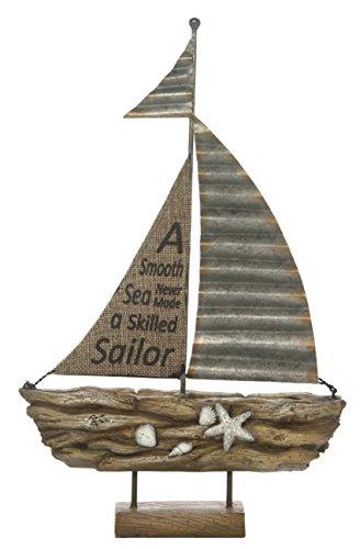 "Hosley 13.2"" High, Decorative Tabletop Driftwood Sailboat. Ideal Gift for Wedding, Home, Party Favor, Spa, Reiki, Meditation, Bathroom Settings O9"