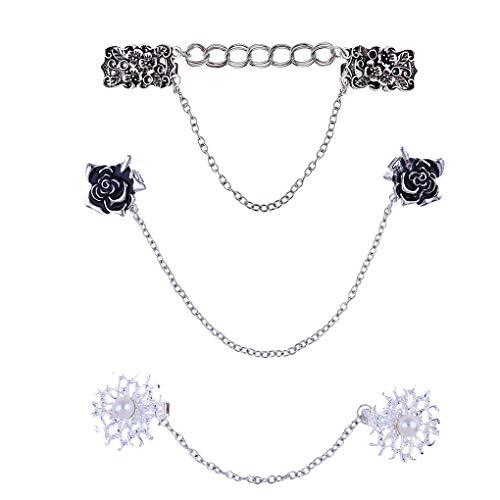 Babysbreath17 3pcs / Set Clips Jersey de Chal Clip Collar Cardigan Vestidos Pin Mujeres Niñas Floral con Cadena 1 15.5x2.4cm, 11.6x1.6cm, 15.1x3cm