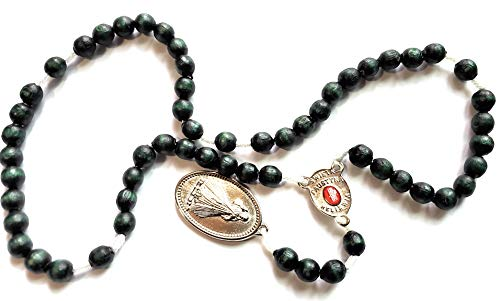 Saint Faustina Kowalska True Relic Chaplet Apostle Divine of Mercy Miraculous Medal Jesus I Trust in You Chaplet Three O' Clock Prayer Poland Polish Novena (Green)