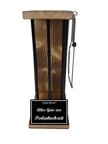 Alles Gute zur Perlenhochzeit - Eiserne Reserve ® Black Edition - Rohling zum SELBST BEFÜLLEN - Größe L - incl. Säge - Geschenk zur Perlenhochzeit - ausgefallene originelle lustige Geschenk