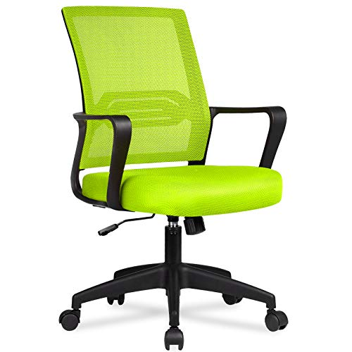 COMHOMA Office Chair Desk Ergonomic Chair with Arms Back Support Mesh Chair for Home Office (GREEN)