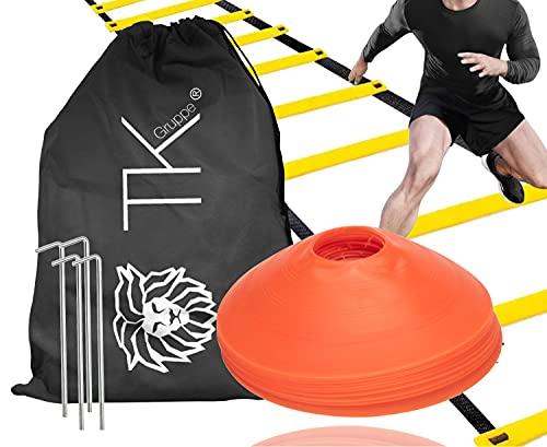 Conjunto de coordinación de agilidad: líder de entrenamiento y conos de marcado conos para accesorios de entrenamiento de slalom y accesorios de fútbol para fútbol, atletismo UVM.