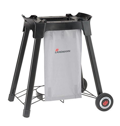 LANDMANN Pantera Trolley für Kompaktgasgrill Pantera 1.0 & 2.0   Schneller und komfortabler Transport des Grillgerätes   Inkl. Gasflaschenhalterung [Schwarz]