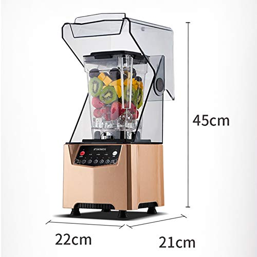 CSDY-Commercial Blender, Wice Crushing Blender 1000W with Sound Cover Enclosure Blender Smoothie Makers for Ice Crusher/Smoothie/Ice Cream/Cocktail/Frozen Dessert,Black