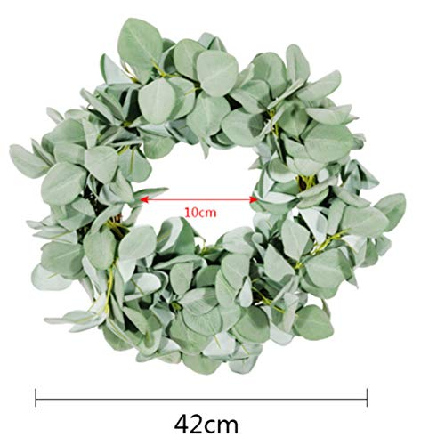 TTOOY 2 pcs Lamb's Ear Leaf Wreath, Halloween Green Flocking Leaves for Front Door Fake Green Leaves Wreath Holiday Home Decorations Window Decorations,S