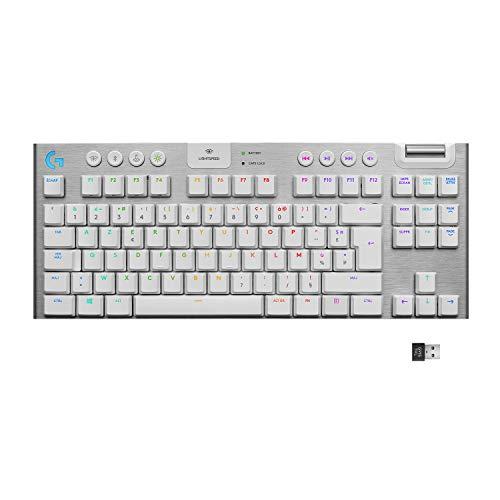 Logitech G915 TKL Lightspeed Wireless RGB Mechanische Gaming-Tastatur ohne Ziffernblock, Touch, Ultra-Flat-Switch-Optionen, LIGHTSYNC RGB, Wireless und erweiterte Bluetooth-Unterstützung - weiß