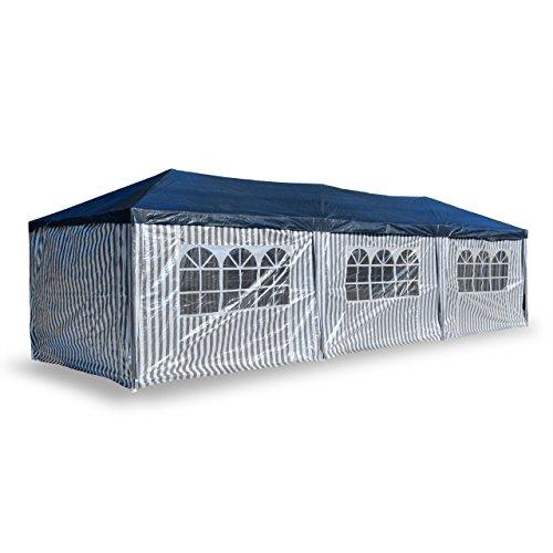 Nexos PE-Pavillon Partyzelt mit 6 Seitenteilen und 2 Eingängen für Garten Terrasse Feier oder Fest als Unterstand Plane 110g/m² wasserdicht 3 x 9 m blau