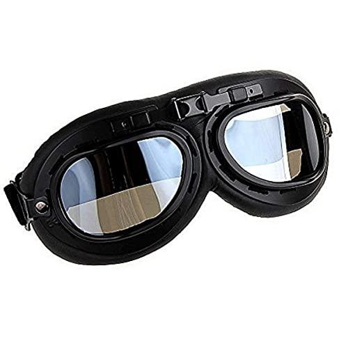 WYJW Gafas Transparentes Retro para Motocicleta, Gafas para Montar al Aire Libre, Casco de piloto de la Segunda Guerra Mundial, Parabrisas Decorativo, Piezas de Repuesto para motociclet