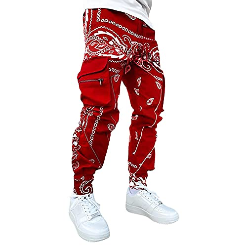 Pantalones largos para hombre Reflective Cargo informales, informales, para correr, para el tiempo libre, tácticos, básicos, chinos, senderismo, softshell, rojo, XXXXL