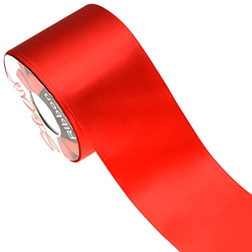 Star Quality 3Inch Wide Satin Ribbon by 25 Yard Spool  Polyester Ribbon for Floral Arrangement,Sashes Wedding Bouquet, and Big DIY Artwork Projects   No Fading Woven Ribbon (3Inch Width,Christmas Red)
