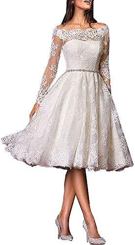 iluckin Vintage Short Off Shoulder with Long Sleeves Lace A Line Wedding Dresses for Bride Retro Bridal Ball Gowns Ivory