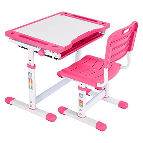 Height Adjustable Study Desk and Chair Set - Ergonomics Wood Children Tiltable Study Table Kids Desk Studying & Learning Desk and Chair Set for 3-18 Boys & Girls, Pink