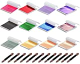 Y-Axis 12 Colors Gold Leaf Sheets Set 360 Sheets Imitation Hold Gold Leaf Leafing Sheets Foil Paper for Slime Nails Paintings