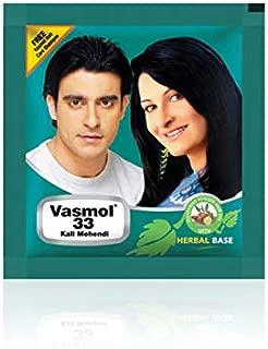Vasmol 33 Kali Mehendi Powder Hair Dye - 5gm x 12-60gm - Free Vasmol Hair Shampoo