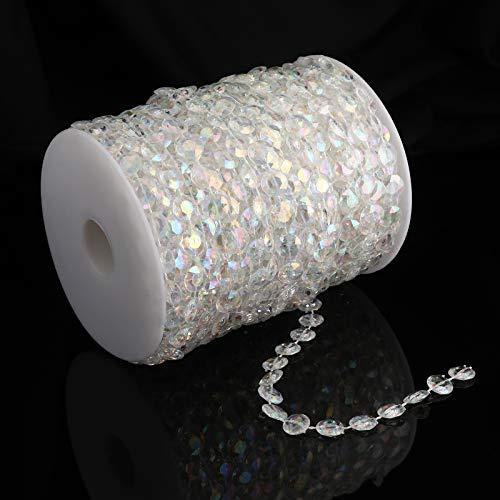 30,2 m klare Kristall-Acryl-Perlen – Girlande, Perlenschnur für Hochzeit, Dekoration, Vorhang Erikord (bunt)