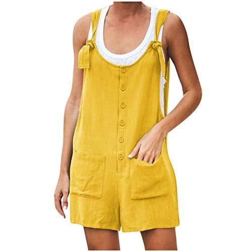 sunnymi Mono para mujer, con botón de bolsillo, sin mangas, body para juegos, pelele amarillo XXL