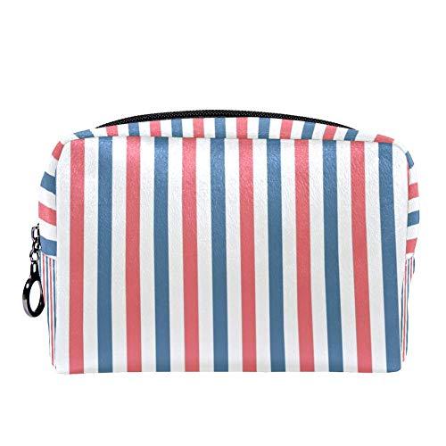 TIZORAX Make-up-Tasche, Patriotische Streifen, für Damen, Hautpflege, Kosmetik, Handtasche mit Reißverschluss