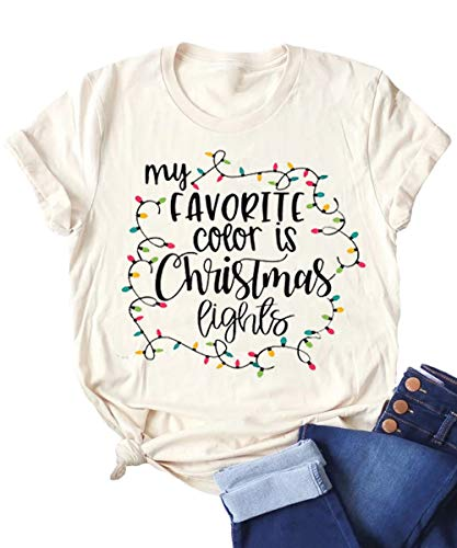 Front of Earlymemb Womens My Favorite Color is Christmas Lights Shirts Winter Casual Short Sleeve Letter Printed Tees Tops