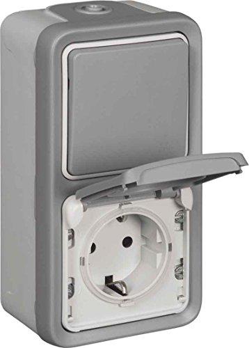 Kombination Universal Aus-/Wechsel Schalter plus Schuko-Steckdose Plexo55 APWG IP44, Schlagfest IK07 - Schutzart IP55 bei geschlossenem Deckel