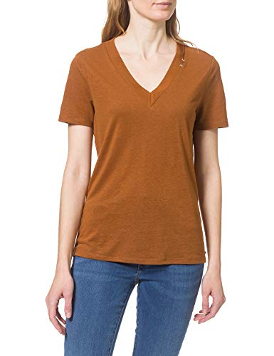 Scotch & Soda T-Shirt mit V-Ausschnitt einem Mix aus Leinen und recyceltem Polyester Camiseta, 0082 Tabacco, L para Mujer