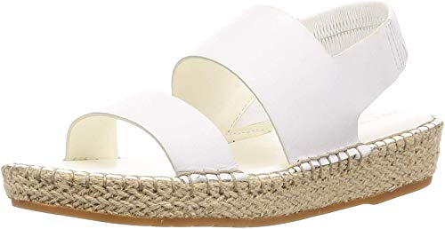 Cole Haan Women's CLOUDFEEL Espadrille Sandal Wedge, Optic White Leather/Natural Jute/GUME, 8.5