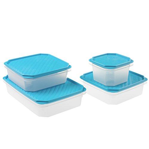 Tatay Lote 4 contenedores Alimentos, de Diferentes tamaños, con Tapa Flexible, Fabricados en plástico Libres de BpA