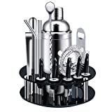 X-cosrack Bar Set,18-Piece Stainless Steel Cocktail Shaker Bar Tools,with Rotating Display Stand and...