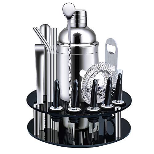 X-cosrack Bar Set,18-Piece Stainless Steel Cocktail Shaker Bar Tools,with Rotating Display Stand and Recipes Booklet,Premium Bartending Kit for...