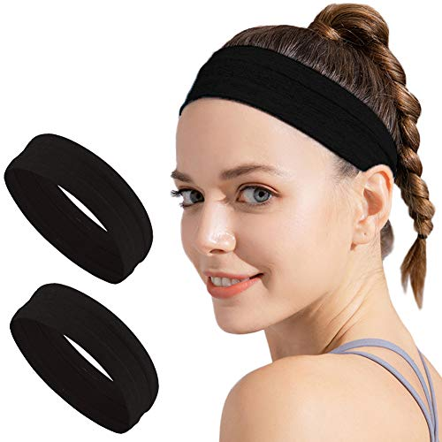 Set of 2 Non Slip Black Headbands for Women Men, Grip Silicone Yoga Sweatband, Stretchy Soft Running Wicking Head Sweat Set, Lightweight Elastic Exercise Band, Workout Sports Indoor Fitness Gym