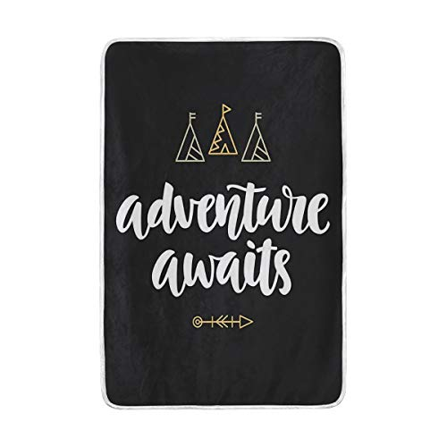 """VICAFUCI Soft Fluffy Flannel Fleece Blankets,Adventure Awaits Modern Calligraphy With Doodle Tents And Arrow,Warm Blanket for Sofa Bed Couch Lightweight Travelling Camping,60""""x90"""""""