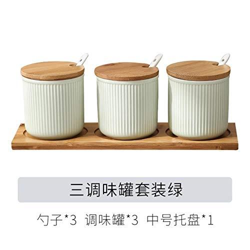 Keramische Specerijen Jar Huishoudelijke Kruiden Doos Houten Lade Kruidkruik Sojasaus Pot Zout Suiker Enkel Kan Keuken Kruiden Gereedschap, 3 stks