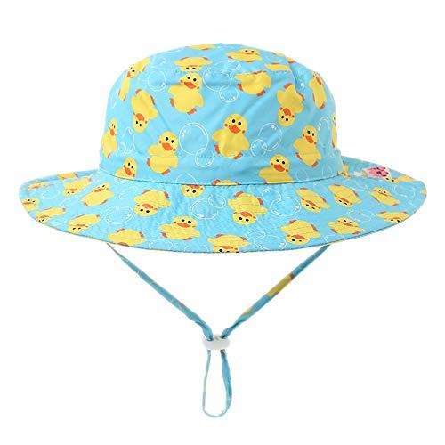 Arcweg Baby Mädchen Jungen Sonnenhut Cartoons mit Kinnriemen Strandhut 100% Baumwolle Outdoor Hut mit Breiter Krempe 46-54cm (Kopfumfang 54cm, Ente)