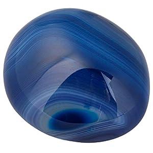 rockcloud Irregular Polished Blue Agate Palm Stones Worry Stones Pebble Healing Crystal with Velvet Bag