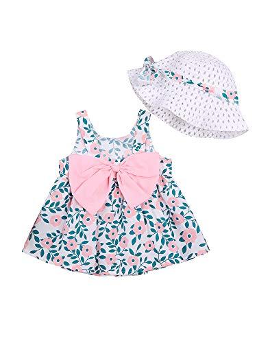 Carolilly Conjunto de vestido de verano para niña, con estampado floral, cuello redondo, sin mangas, espalda descubierta, falda + protección solar, de paja Rosa3. 18-24 Meses