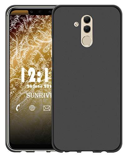 Sunrive Für alcatel A7 XL Hülle Silikon, Handyhülle matt Schutzhülle Etui 3D Case Backcover für alcatel A7 XL(W1 schwarz) MEHRWEG+Gratis Universal Eingabestift