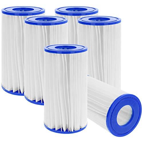 com-four® 6X Cartuchos de Filtro Originales de tamaño 3 (Tipo A/C) - Filtro Universal Adecuado para Bombas de Piscinas (Tamaño 3-6 Piezas)