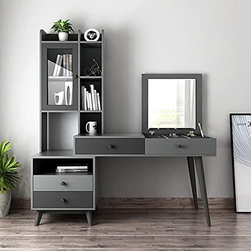 QEWR Escritorio para ordenador, oficina en casa, mesa de trabajo, mesa de trabajo, estación de trabajo con tablero de empalme para despacho, salón, con espejo, cajón y puerta de cristal, tocador.